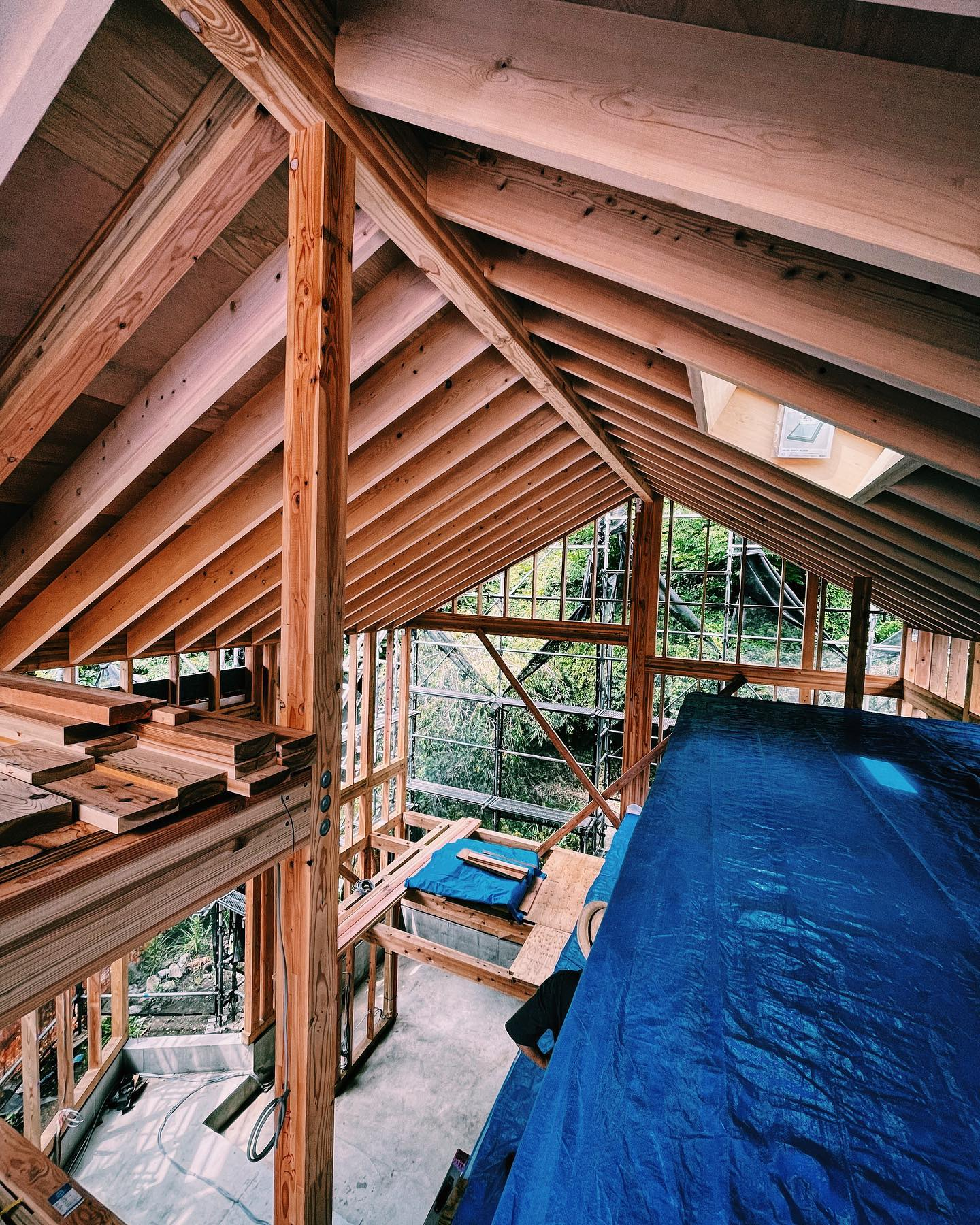 Today's construction site. #structuralengineering #architecture #house #timberstructure #timberframe
